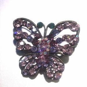 Vintage Jewelry - Butterfly Pin Brooch Pink Purple Rhinestones